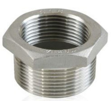 Stainless Steel Hex Bushing, MxF. Available in SS 304 and SS 316.