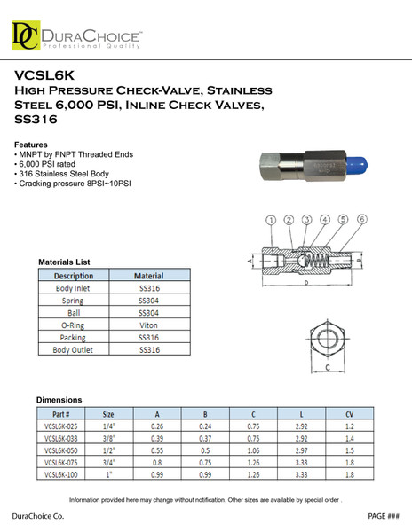 High pressure check-valve, Stainless Steel 6000 PSI, Inline check valves, SS316