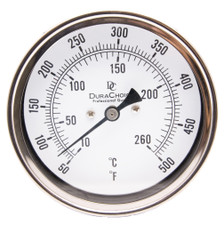 "Industrial Bimetal Thermometer 3"" Face - Stainless Steel Case w/Calibration Dial"