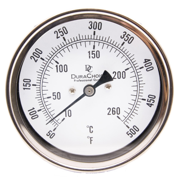 """Industrial Bimetal Thermometer 3"""" Face - Stainless Steel Case w/Calibration Dial"""