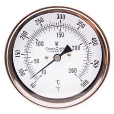 "Industrial Bimetal Thermometer 5"" Face - Stainless Steel Case w/Calibration Dial"