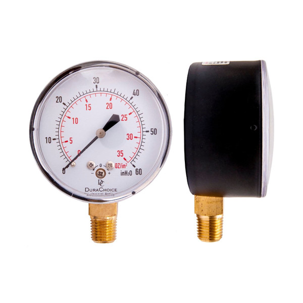 "Low Pressure Capsule Gauge (Black Steel) - 2-1/2"" Face 1/4"" NPT"