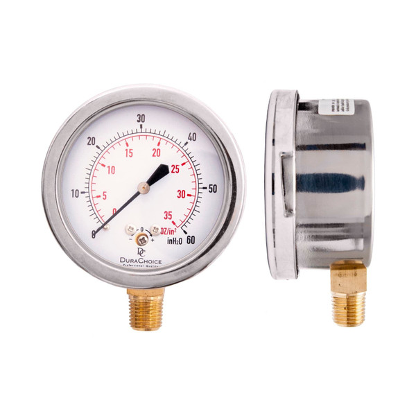 "Low Pressure Capsule Gauge (Stainless Steel) - 2 1/2"" Face 1/4"" NPT"