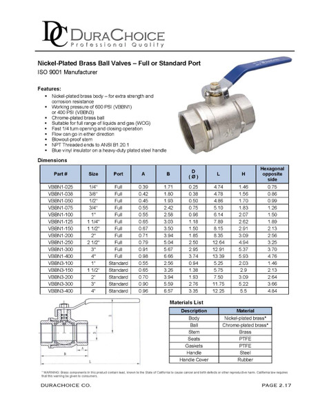 Nickel Plated Ball Valve - Standard Port 400 psi (WOG)