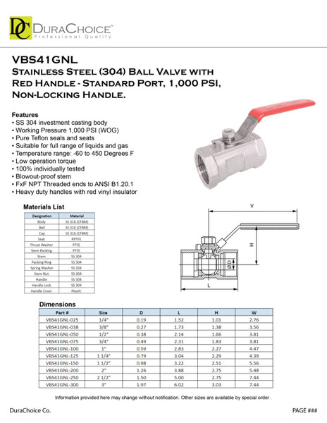 Standard Port Stainless Steel Ball Valve w/ non-locking red handle - OEM, S.S. 304, 1,000 PSI (WOG)