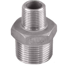 Stainless Steel Reducing Nipple Fitting with one port smaller than the other. FxF. Available in SS 304 and SS 316.