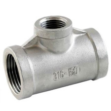 Stainless Steel Reducing Tee Fitting, FxFxF with one smaller 90-degree-angle port. Available in SS 304 and SS 316.