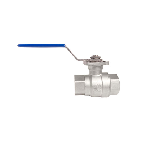 SS316 Ball Valve with High Platform and Direct Mounting Pad, 2 Piece Full Port,. 1,000 WOG, 14 NPT