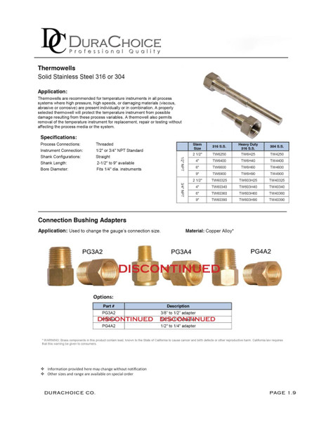 """Stainless Steel 304 Thermowell, 1/4"""" NPT, Stem Length 2-1/2"""", 4"""", 6"""" or 9"""""""