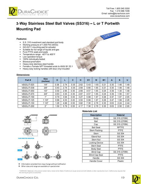 Stainless Steel (316) 3-Way Ball Valve - L Port or T Port with Mounting Pad - 1,000 PSI (WOG)