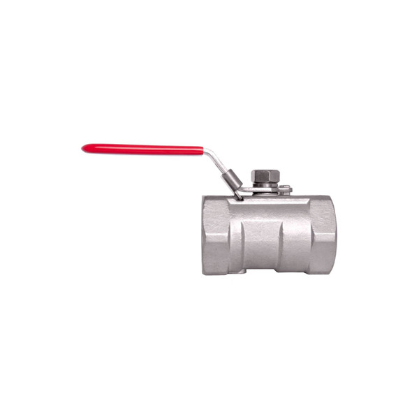 Stainless Steel (316) Ball Valve - 1 Piece Standard Port, 1,000 PSI (WOG) w/ Red Handle