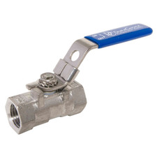 Stainless Steel (316) Ball Valve - 1 Piece Standard Port, 1,000 PSI (WOG)