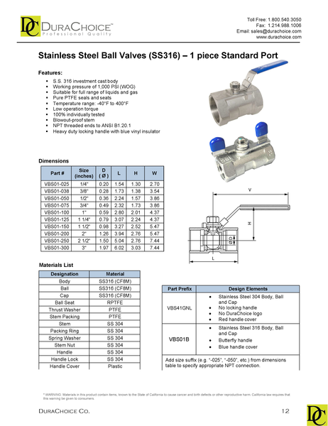 Stainless Steel (316) Ball Valve - 1 Piece Standard Port, 1,000 PSI (WOG)