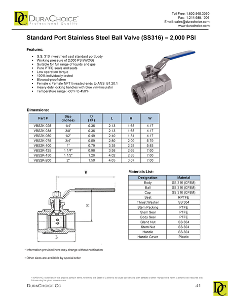 Heavy Duty Standard Port Stainless Steel 316 Ball Valve, 2 Piece - 2,000 PSI (WOG)