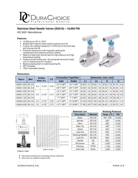 Stainless Steel (316) Needle Valves - 10,000 psi