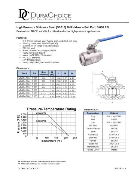 High Pressure Stainless Steel Seal-Welded Full Port Ball Valve - 3,600 PSI (WOG)