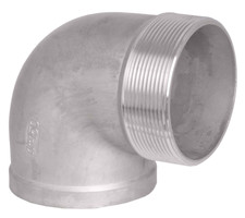 MxF NPT Threaded Elbow Fitting, available in SS304 and SS316. Elbow bends at 90-degree angle.